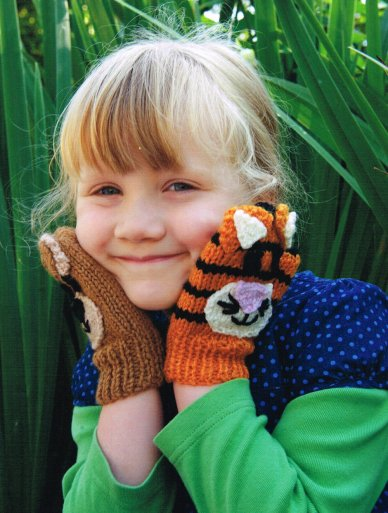 Bear and Tiger Mittens Claire Crompton