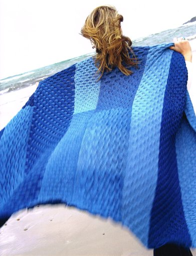 Knitted Denim Throw Afghan Claire Crompton
