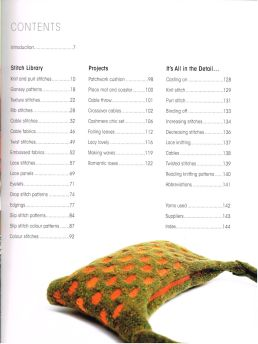 Knitting Stitch Library contents Claire Crompton