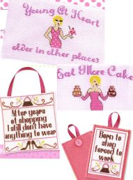Naughty but Nice cross stitch shopping Claire Crompton