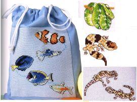 Picture Your Pet cross stitch fish reptiles Claire Crompton